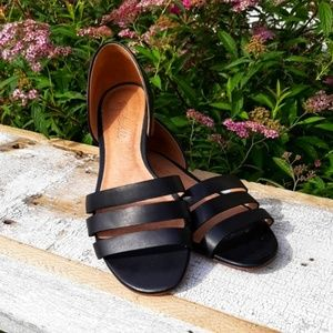 "Madewell Black Leather Three Strap d""orsay Flats 7"